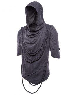 Mens Layerd String Detail Hooded T-Shirt