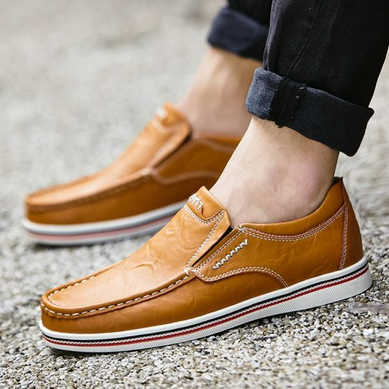 Hand Sewn Men Genuine Leather Boat Shoes