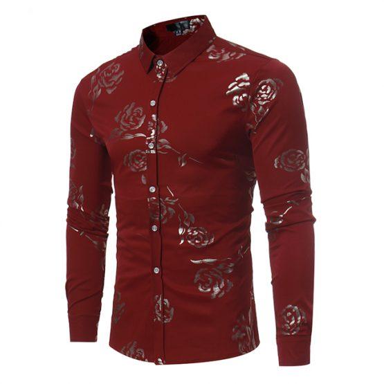 Mens Luxury Gold Rose Print Shirt Long Sleeve