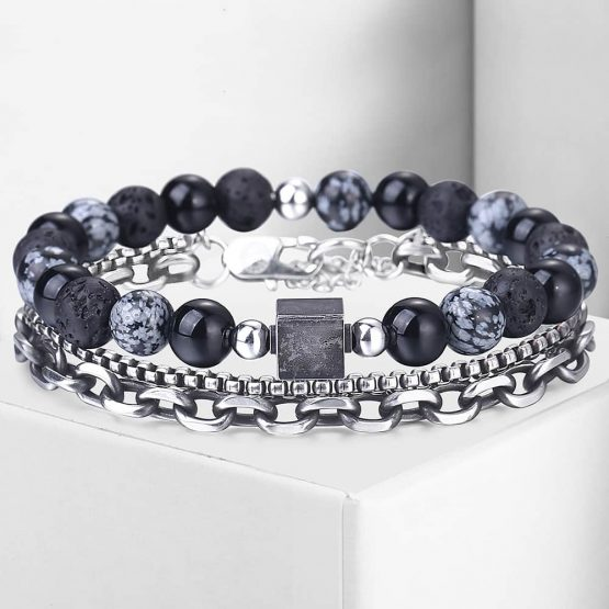 Mens Multi Layer Chain Bracelet