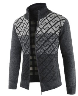 Feguilai Mens Patterned Cardigan