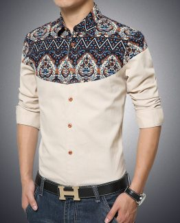 Cotton Men Linen Shirt, Gradient Print