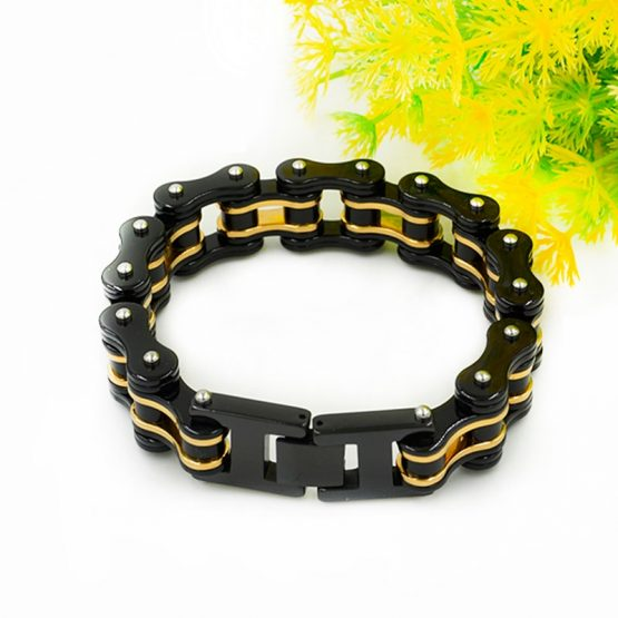 Bicycle Chain Gold Black Bracelets