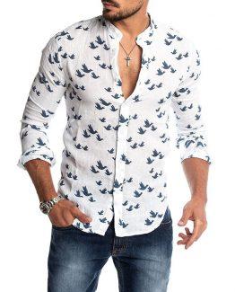 bird print shirt mens