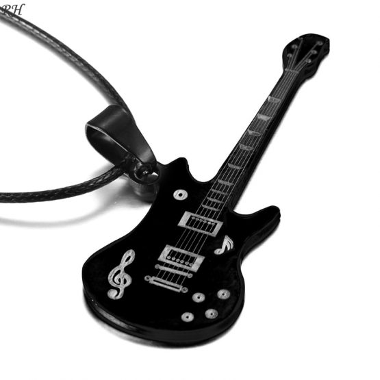 Black Stainless Steel Guitar Necklace Chain