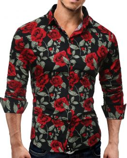 Mens Retro Floral Print Shirt