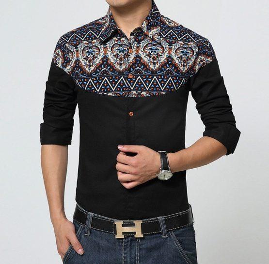 Cotton Men Linen Shirt, Gradient Print