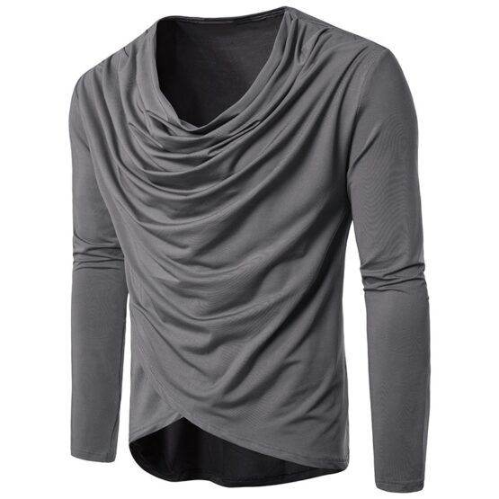 Valero Draped Cowl Neck Long Sleeve Plain T-Shirt