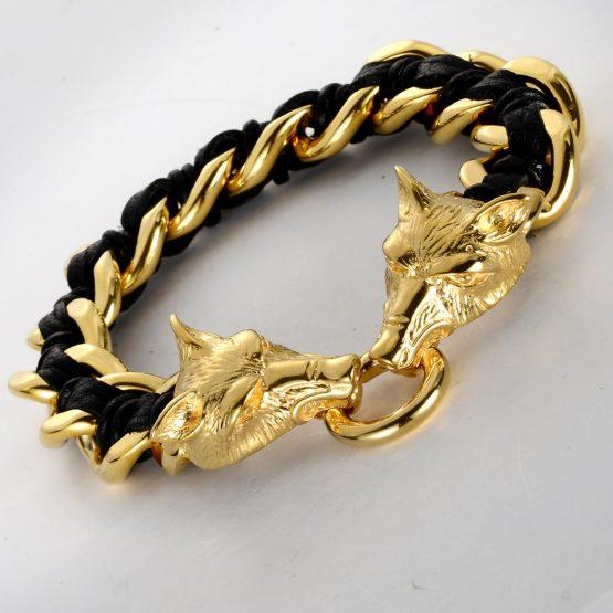 Handmade Men's 316L Stainless Steel Leather Wolf bracelet