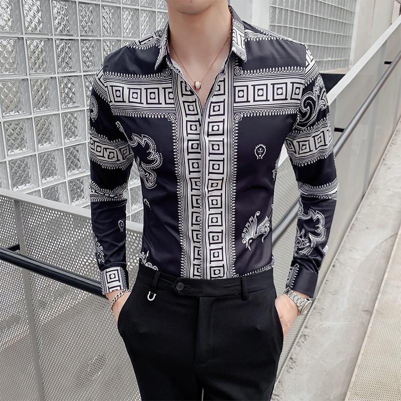 Formal Men/'s White Dress Shirts Casual Print Button Long Sleeve Slim Fit Shirt