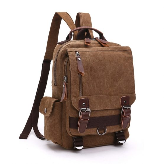 Scione Retro Messenger Bag, Canvas Shoulder Backpack, Sling Bag
