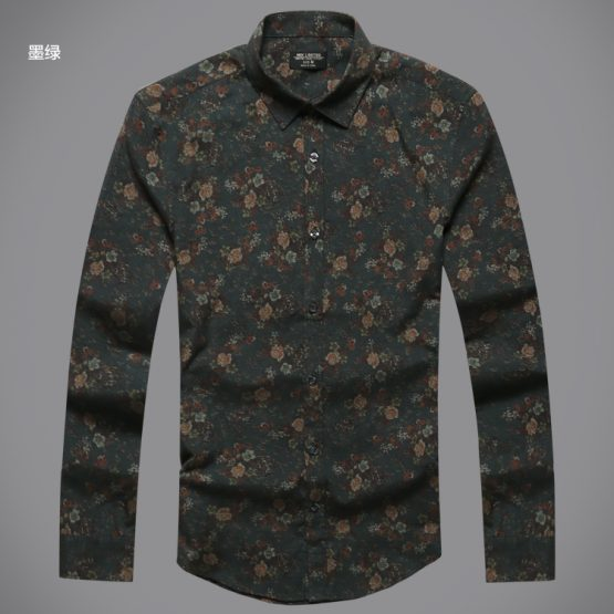 Flower Printed Long Sleeve Men's Shirt