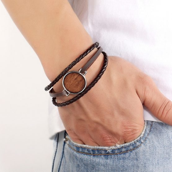 Braided Multi-layer Bracelet- Wood Feature