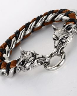 Handmade Men's 316L Stainless Steel Leather Wolf bracelet