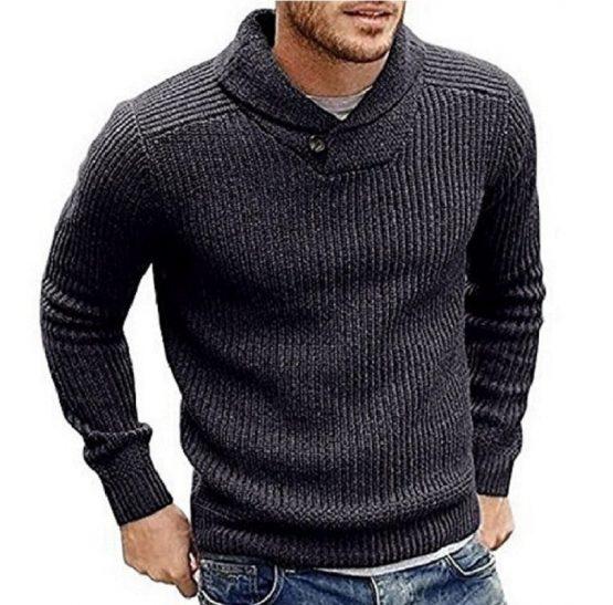 Hestene Mens Sweater, Shawl Collar, Slim Fit Pullover