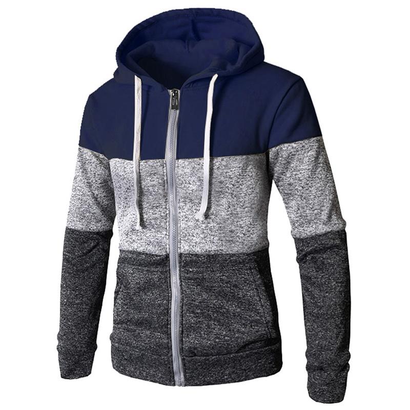 Men Cut And Sew Panel Hooded Jacket, Mens ZIPPED Fleece, Hoodie Sweatshirt