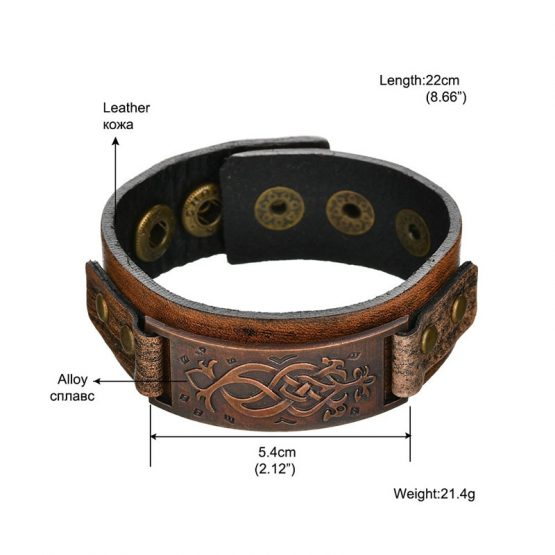 Roman Bronze Mens Leather Bracelet