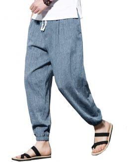 Mens Cotton Harem Pants - Drawstring