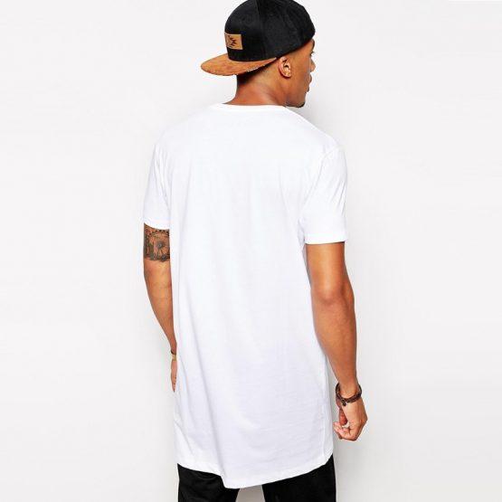 Men's White Long Cotton T Shirt