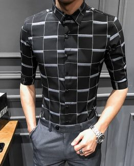 Mens Print Dress Shirt - Half Sleeve