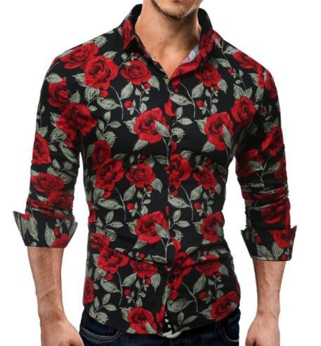 Mens Retro Floral Print Shirt