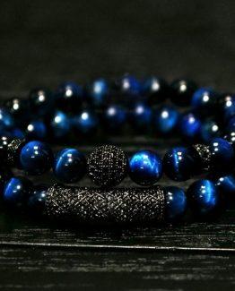Blue Tiger Eye Beaded Men's Bracelet