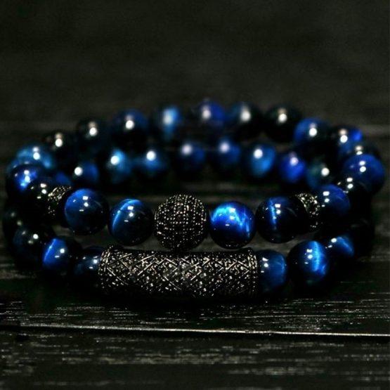 Handmade NAIQUBE Blue Tigers Eye Bracelet