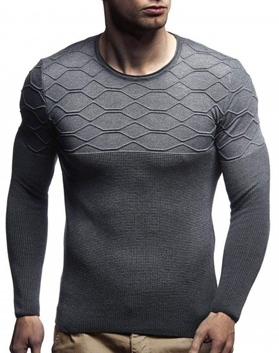 LEIF NELSON Men's Sweater Knitted Pullover Hoodie Crew Neck Sweatshirt Longsleeve Long Sleeve Sweater Slim Fit LN1700