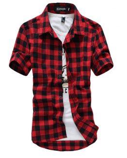 Mens Short Sleeve Plaid Shirt