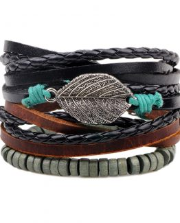 3pcs/set Boho Punk Wide Leather Bracelets | Beaded Bracelets For Men