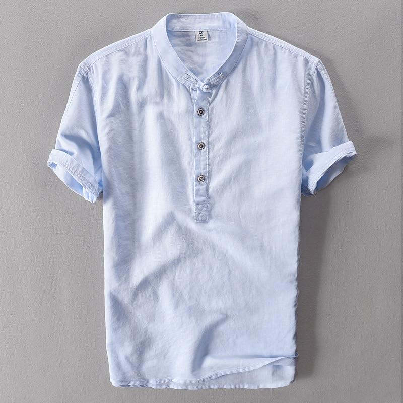 shorts gray linen shirt