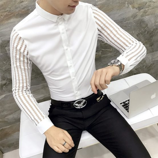Long Sleeve Slim Fit Men's Dress Shirt