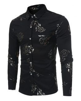 mens rose print shirt
