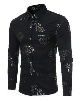 mens rose print shirt