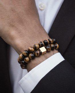 NAIQUBE Men's Tigers Eye Stone Beaded Bracelet