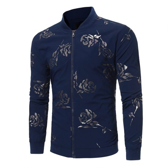 Mens Rose Printed Bomber Jacket