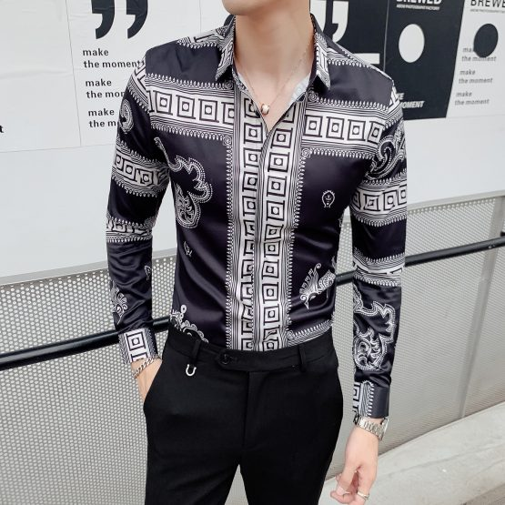 Men's Long-sleeved Retro Print Shirt, Slim Fit