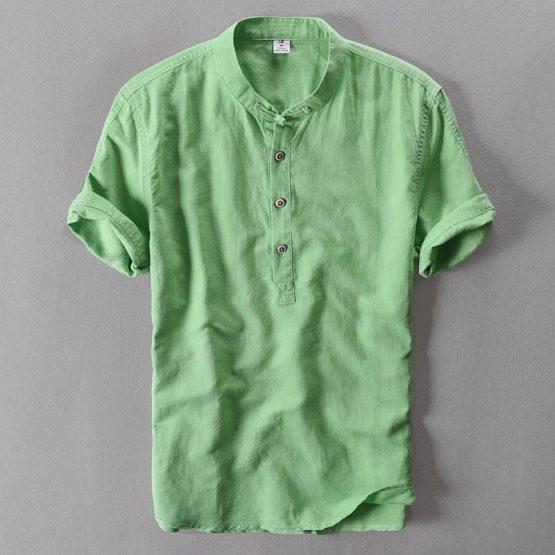 Azure Men's Short Sleeved Linen Shirt