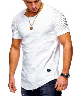 Velocity Short Sleeve Men T Shirt Pleated shoulder | Slim Fit