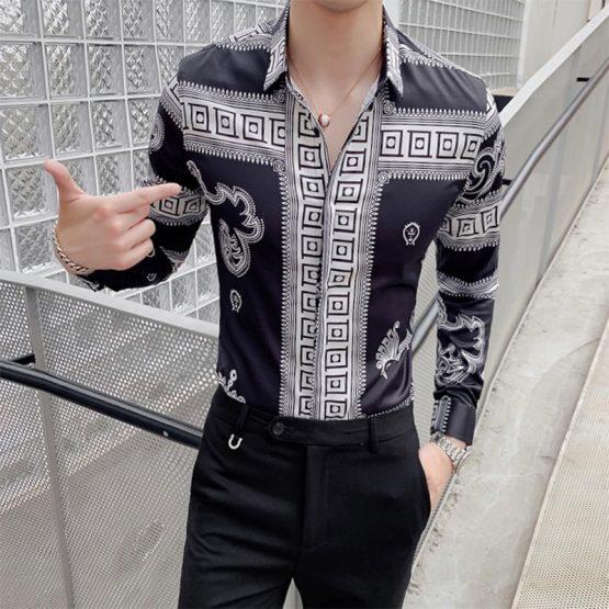 Men's Long-sleeved Retro Print Shirt, Slim Fit