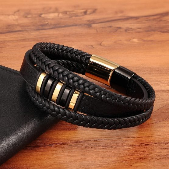 Black Gold Leather Bracelet for Men