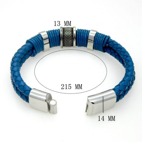 Blue Genuine Leather Mens Bracelet, Magnetic Clasp