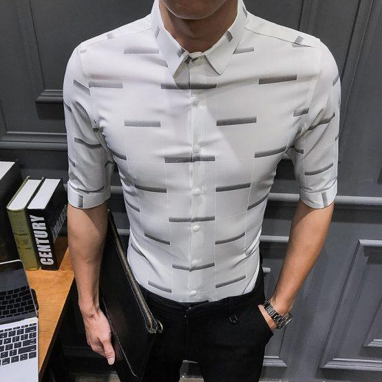 Mens Print Dress Shirt - Half Sleeve