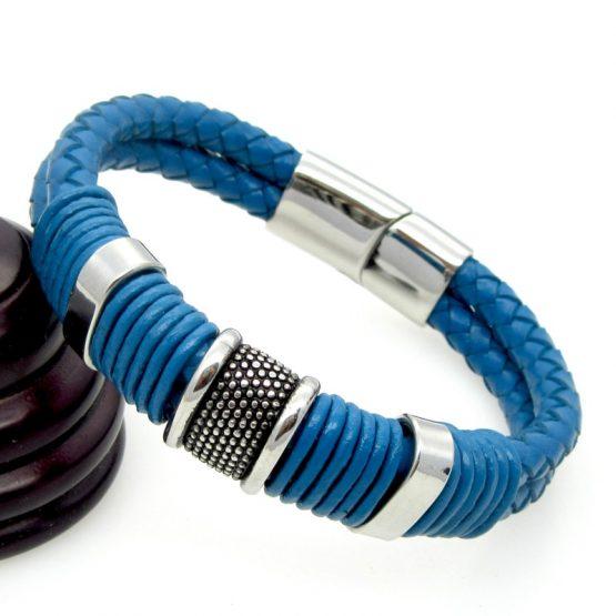 blue leather bracelet for men