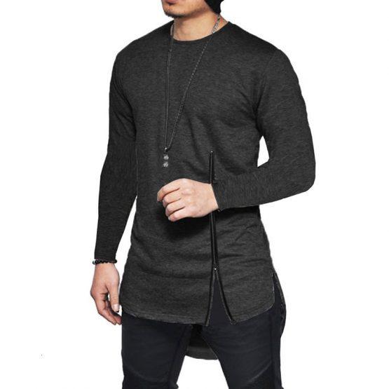 Men Short-sleeved Zip Side Slit T-shirt