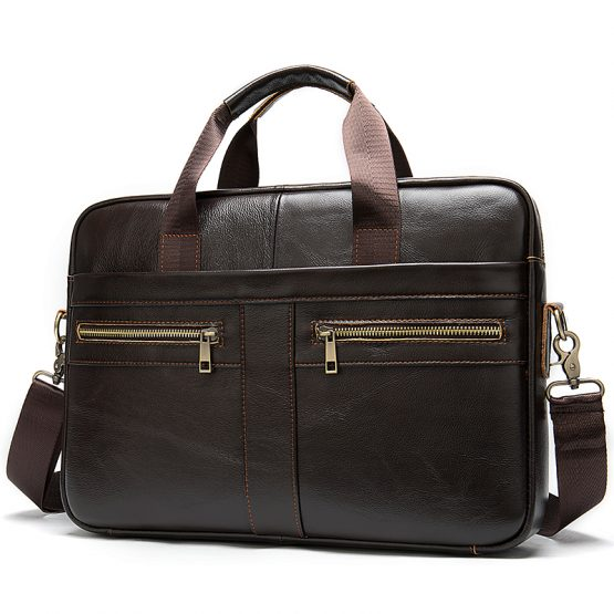 WESTAL Leather Messenger Bag for Men – Padded 14 Inch Laptop Briefcase