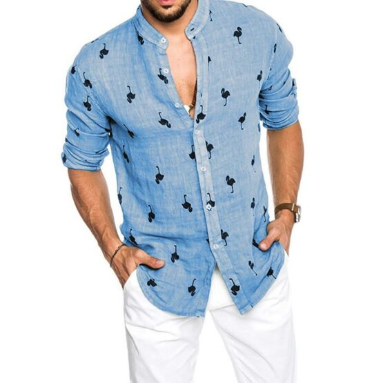flamingo print mens shirt