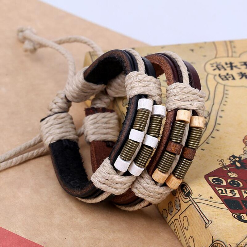 Jisensp Leather Wrap Bracelets For Men