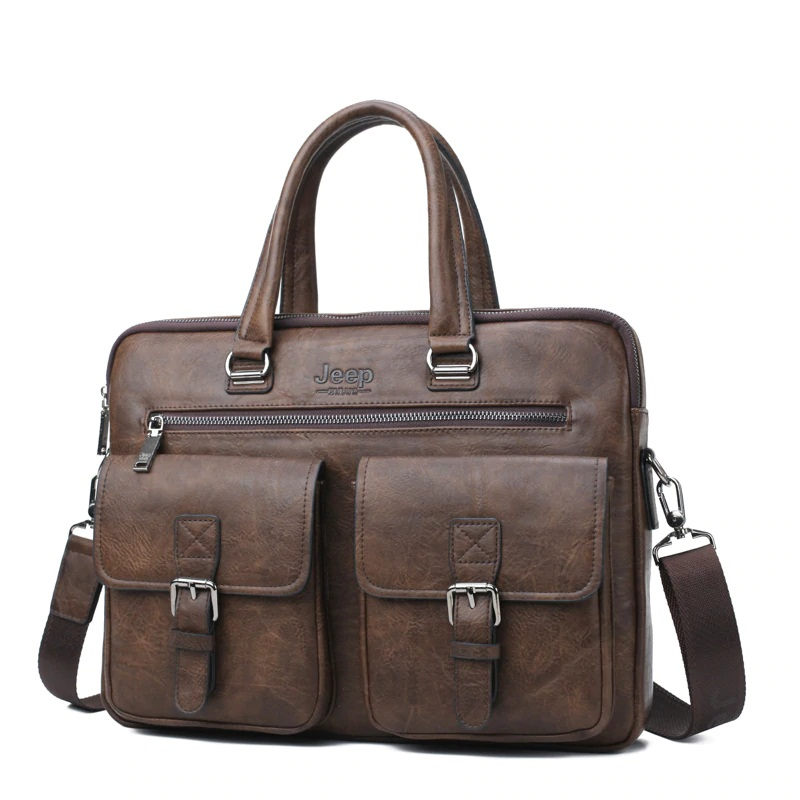 Leather Laptop Messenger Bag For Men-4