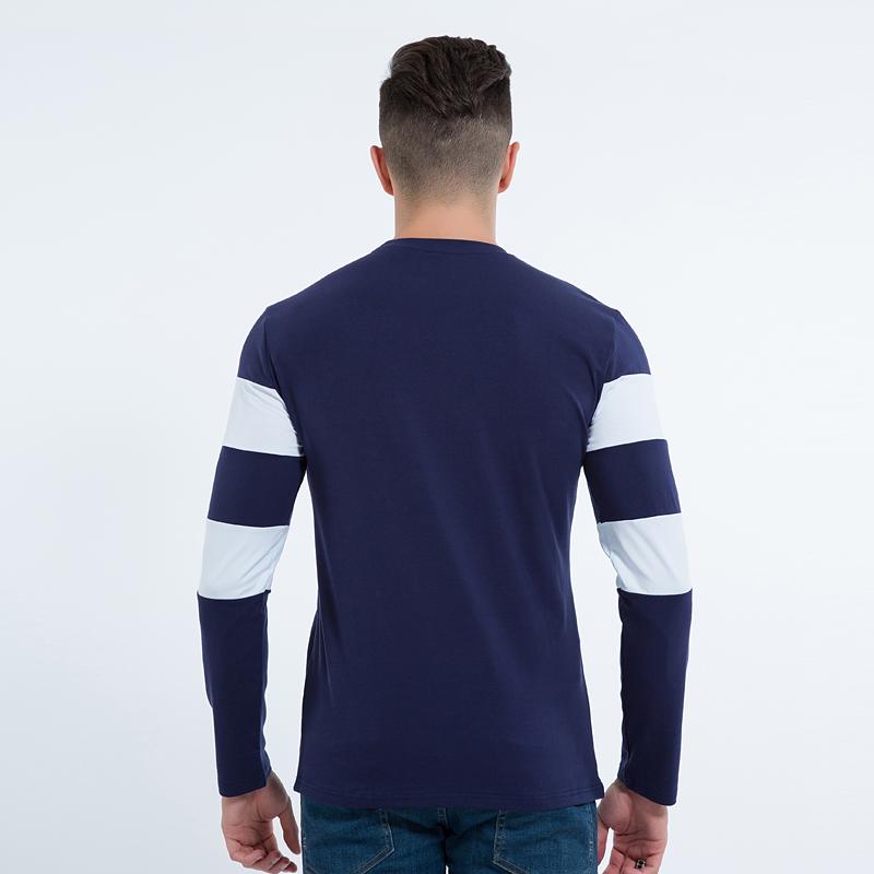 Mens long sleeve t shirt o neck striped t shirt for Blue and white striped long sleeve t shirt